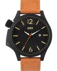 Edwin - Black Dial With Brown Leather Band Brook - Lyst