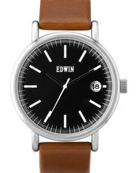 Edwin - Black Dial With Brown Leather Band Epic - Lyst
