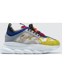 Versace - Feather Print Multicolor Chain Reaction Sneakers - Lyst