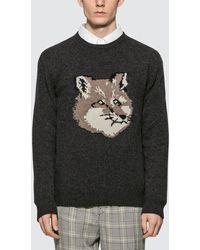 Maison Kitsuné Fox Head Pullover - Gray