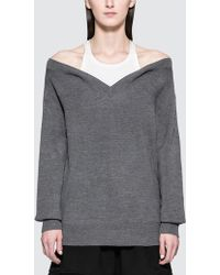 Alexander Wang - Bi-layer Off Shoulder With Inner Tank Sweater - Lyst