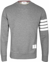 Thom Browne - Grey Crew Neck Sweatshirt With Iconic Stripe Armband - Lyst