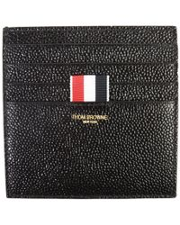 Thom Browne Pebble Lucido Single Card Holder Black