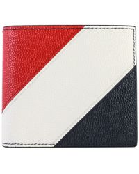 Thom Browne - Pebble Grain Billfold Red/white/blue Wallet - Lyst