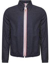 Thom Browne - Double Welt Pocket Zip Up Golf Jacket Navy - Lyst