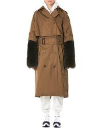 Vera Wang - Fur Sleeve Trench Coat - Lyst