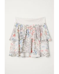 0ab807d6d2 H&M Calf-length Flounced Skirt in White - Lyst