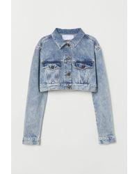 H&M - Short Rhinestone Denim Jacket - Lyst