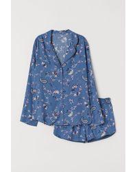 H&M Kurzer Pyjama - Blau