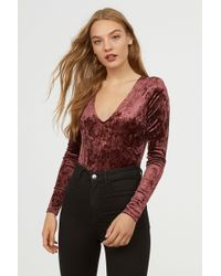 H&M - Long-sleeved Bodysuit - Lyst