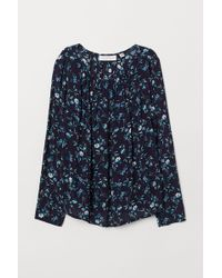 H&M - Boat-necked Viscose Blouse - Lyst