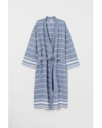 H&M - Washed Linen Dressing Gown - Lyst
