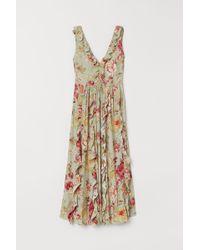H&M - V-neck Flounced Dress - Lyst