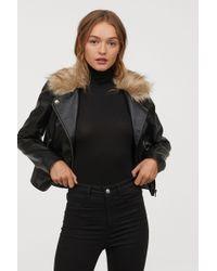 H&M - Biker Jacket With Faux Fur - Lyst