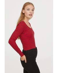H&M - Long-sleeved Bodysuit - Lyst