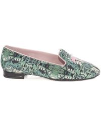 French Sole - Green Palm Print Textile With Flamingo Embroidery In The Hefner Style - Lyst