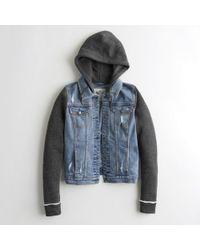 Hollister - Girls Stretch Hooded Denim Jacket From Hollister - Lyst
