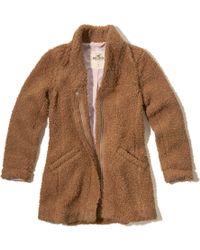 Hollister - Zip Front Faux Fur Coat - Lyst