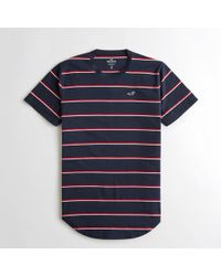 Hollister - Guys Stripe Curved Hem T-shirt From Hollister - Lyst