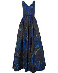 JS Collections - Sleeveless Gown With Tropical Flower Print - Lyst