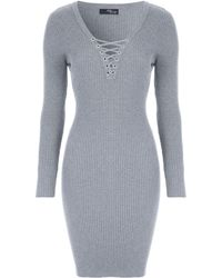 Jane Norman - Lace Up Ribbed Jumper Dress - Lyst