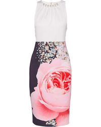 Ted Baker - Blenheim Palace Ruched Detail Midi Dress - Lyst