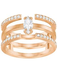 Swarovski - Gray Rose Goldplated And Crystal Ring - Lyst