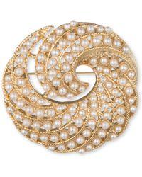 Anne Klein - Gold-tone Faux Pearl Swirl Pin - Lyst
