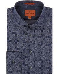 Simon Carter | Chambray Tile Print Harrison Shirt | Lyst