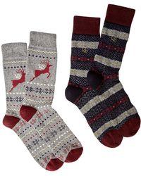White Stuff - Men's Stag Wool Socks 2 Pack - Lyst