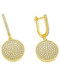 Azendi | Gold Vermeil Pavé Disc Drop Earrings | Lyst