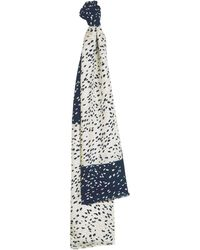 Jaeger - Navy & White Speckles Print Scarf - Lyst