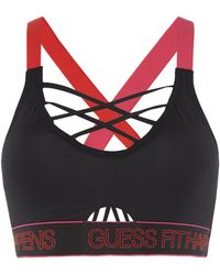 Guess - Br Strappy Back Padded Sports Bra - Lyst