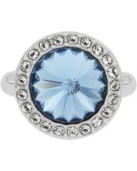 Aurora Flash   Rhodium Plated Round Crystal Ring   Lyst