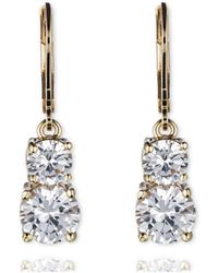 Anne Klein - Leverback Double Stone Drop Earrings - Lyst
