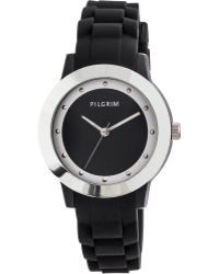 Pilgrim - Silver Plated Black Rubber Watch - Lyst