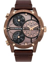 Police - Gents Brown Leather Strap Watch - Lyst