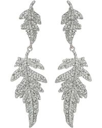 Mikey - Twin Crystal Leaf Drop Dangling Earring - Lyst