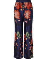 James Lakeland Wide Leg Floral Print Trouser - Blue