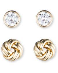 Anne Klein - Duo Stud Set Earrings - Lyst