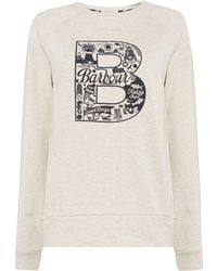 Barbour - Crew Neck Sweatshirt With B Printed Logo - Lyst