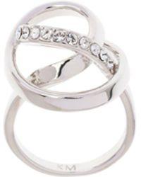 Karen Millen - Silver Crystal Ribbon Ring - Lyst