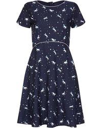 Yumi' Unicorn And Star Print Dress - Blue