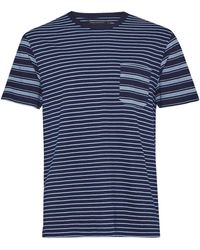 French Connection | Men's Block Patchwork Indigo Striped T-shirt | Lyst