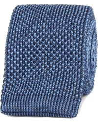 Gibson - Navy And Blue Textured Knitted Tie - Lyst