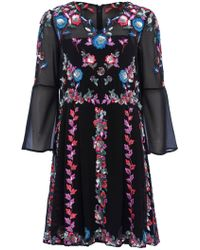 French Connection - Edith Floral Bell Sleeve Flared Dress - Lyst
