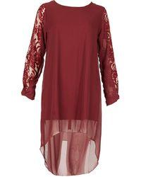 Feverfish - Chiffon Lace Sleeve Panel Tunic Dress - Lyst