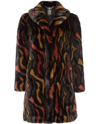 Biba - Abstract Faux Fur Portobello Coat - Lyst