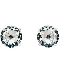 Monet - Rhodium White Cz Stud Earrings - Lyst