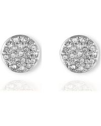 Anne Klein - Button Stud Pave Earrings - Lyst